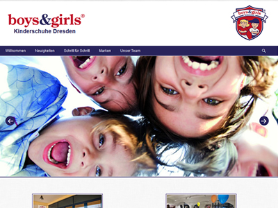 Website Homepage CMS Boys and Girls Kinderschuhe Dresden